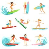 Surfer girls riding on waves set, surfboarders in different poses vector Illustrations Stock Image