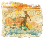 Surfer on grunge paper. Grunge summer scene paper with surfer and hibiscus Stock Photography