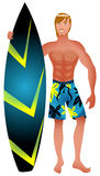 Surfer Guy. Vector Illustration of an athletic surfer with surfboard Stock Photography
