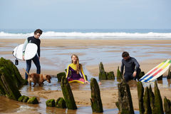 Surfer guys relaxing on the beach after good surf session Stock Photography