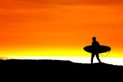 Surfer heading for a sunset ride Royalty Free Stock Image