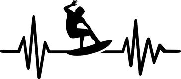 Surfer heartbeat line. Heartbeat pulse line with surfer on waves royalty free illustration