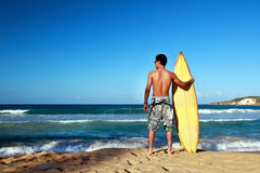 Surfer holding a surf board on beach. Surfer holding a surf board on tropical beach Royalty Free Stock Photos