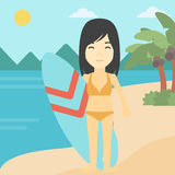 Surfer holding surfboard vector illustration. Royalty Free Stock Photography
