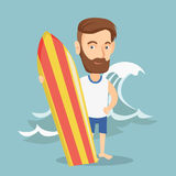 Surfer holding a surfboard vector illustration. Stock Image