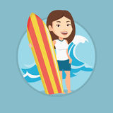 Surfer holding surfboard vector illustration. Stock Photos