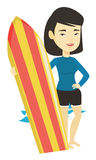 Surfer holding surfboard vector illustration. Royalty Free Stock Images