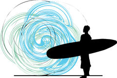 Surfer. illustration. Surfer illustration with abstract background, made in adobe illustrator Royalty Free Stock Photography