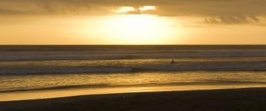 Surfer im Sonnenuntergang Stockbilder