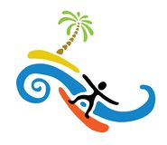 Surfer and island with palm, vector illustration Royalty Free Stock Image