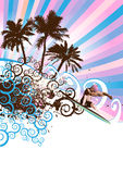 Surfer island vector. Surfer on abstract waves in the summer,floral & grunge elements,vector illustration Royalty Free Stock Image