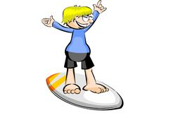 Surfer isolated on white background Royalty Free Stock Photography