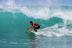 Surfer Kai Rabago Surfing at Waikiki Beach Stock Photos