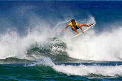Surfer Kekoa Cazimero Surfing in Honolulu, Hawaii Stock Image
