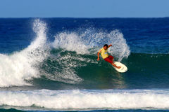 Surfer Keoni Nozaki Surfing in Honolulu, Hawaii Stock Images
