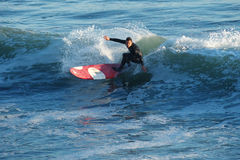 Surfer Kyle Jouras Surfing in Santa Cruz, California Royalty Free Stock Photography