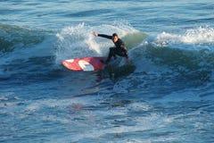 Surfer Kyle Jouras Surfing in Santa Cruz, California royalty free stock photography