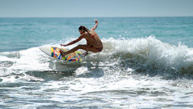 Surfer in Lagos Portugal Royalty Free Stock Photo