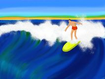 Surfer les ondes illustration libre de droits