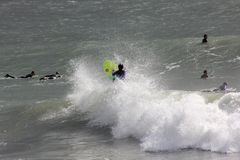 Surfer in Levanto. Between surfer beach waves of Levanto La Spezia Liguria royalty free stock photography