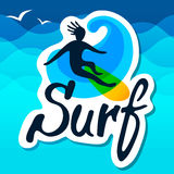 Surfer logo template. Stock Image