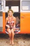 Surfer-Mädchen-Strand-Lebensstil Lizenzfreies Stockfoto