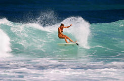 Surfer-Mädchenanna-Fischrogen, der am felsigen Punkt surft Stockbilder