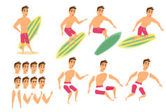 Surfer man character Stock Photo