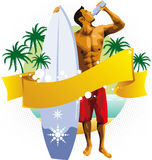 Surfer man drinking on beach Stock Photos
