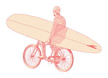 Surfer. Man going to the beach ride bicycle while holding surf board Stock Photo