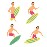 Surfer man poses set Royalty Free Stock Image