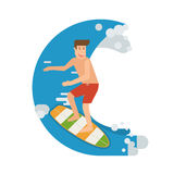Surfer Man Riding on Wave. Smiling surfer riding on the wave. Smiling surfing man standing on surfboard. Surfer guy character moving on the tide splash. Young Stock Photos