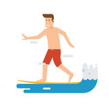 Surfer Man Riding on Wave Royalty Free Stock Image