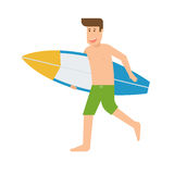 Surfer Man Running With Surfboard. Surfer running with surfboard. Smiling surfing man with shortboard. Surfer guy character with surf desk vector illustration Stock Photos