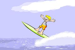Surfer man on surfboard riding the wave Stock Images