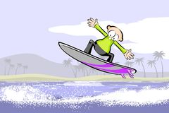 Surfer man on surfboard riding the wave Stock Photo