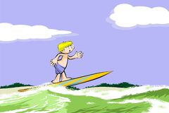 Surfer man on surfboard riding the wave Stock Photography