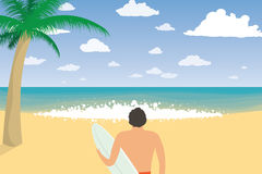 Surfer Man With Surfing Board On Beach. Summer Holiday Stock Photos