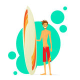 Surfer Man With Surfing Board Flat Icon Stock Image