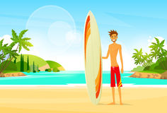 Surfer Man with Surfing Board Palm Tree Summer Stock Photography