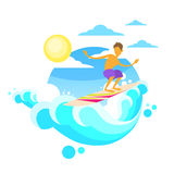 Surfer Man Surfing Sea Wave on Board Summer Ocean Royalty Free Stock Photos