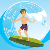 Surfer Man. Young surfer man surfing on the crest of wave royalty free illustration