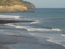 Surfer at Maori Bay, New Zealand. Surfer at Maori Bay, Coastal view, West Coast, North Island New Zealand royalty free stock photography