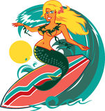 Surfer Mermaid Stock Image