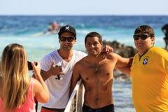 Surfer met ventilators royalty-vrije stock foto's