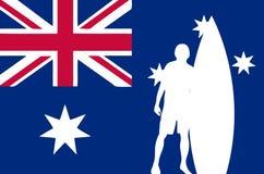 Surfer mit australischer Markierungsfahne Stockfotos