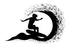 Surfer in motie op de oceaangolf Royalty-vrije Stock Fotografie