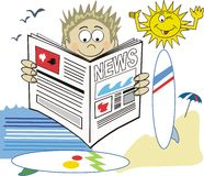 Surfer newspaper cartoon. Cartoon of surfer reading newspaper with sun and board in background Stock Image