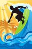 Surfer in the ocean. A illustration of a surfer surfing in the ocean royalty free illustration
