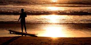 Surfer on the Ocean Beach at Sunset Royalty Free Stock Photos